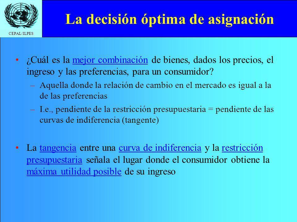 CEPAL/ILPES La decisión óptima de asignación ¿Cuál es la mejor combinación de bienes, dados los precios, el ingreso y las preferencias, para un consumidor.
