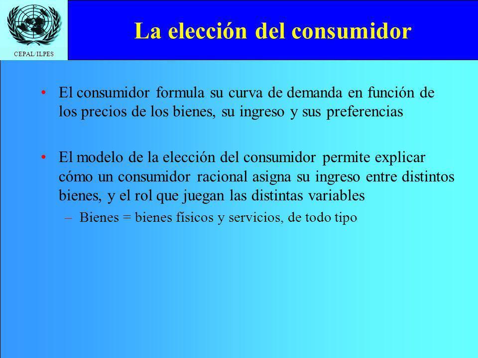 CEPAL/ILPES La elección del consumidor El consumidor formula su curva de demanda en función de los precios de los bienes, su ingreso y sus preferencia