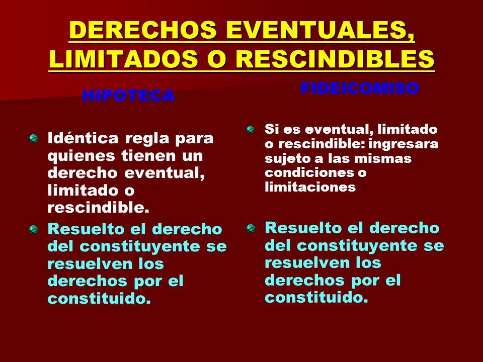 DERECHOS EVENTUALES, LIMITADOS O RESCINDIBLES HIPOTECA Hipoteca de usufructo Lo que se hipoteca siempre es el bien raíz. (Art. 2331) Ver también 2329