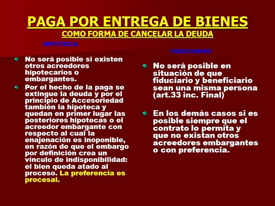 PACTO COMISORIO EN NEGOCIOS DE GARANTIA HIPOTECA Pacto comisorio en la hipoteca 2338 La ley no establece que el bien quede en situación de satisfacer