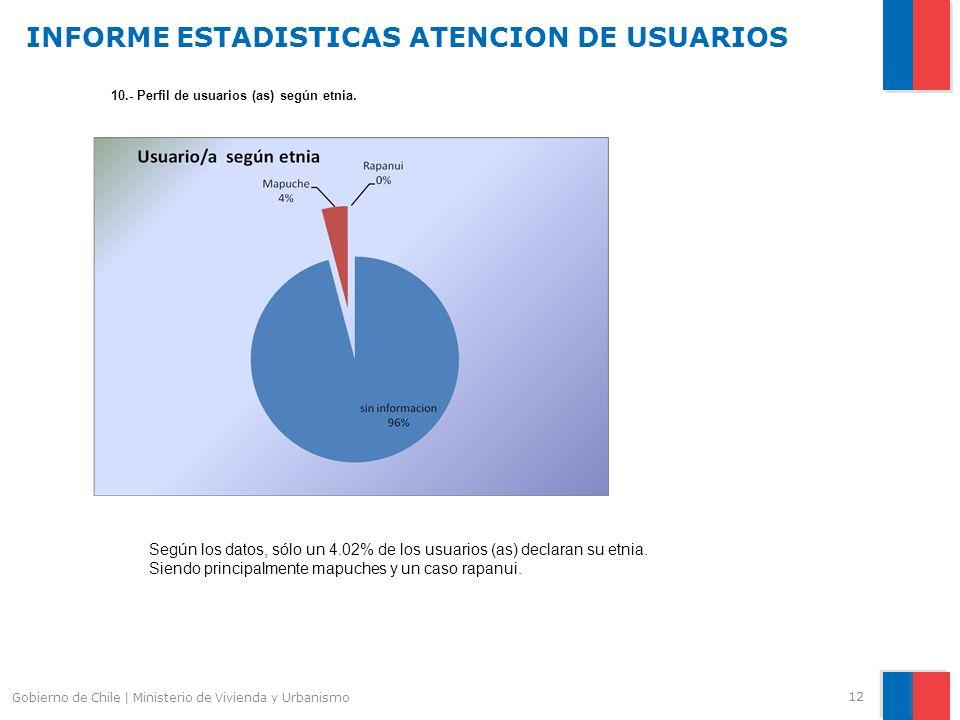 INFORME ESTADISTICAS ATENCION DE USUARIOS 12 Gobierno de Chile | Ministerio de Vivienda y Urbanismo 10.- Perfil de usuarios (as) según etnia.