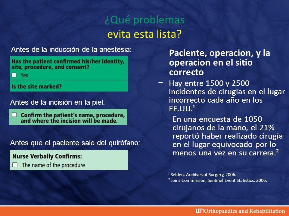 ¿Qué problemas evita esta lista? Paciente, operacion, y la operacion en el sitio correcto Hay entre 1500 y 2500 incidentes de cirugias en el lugar inc