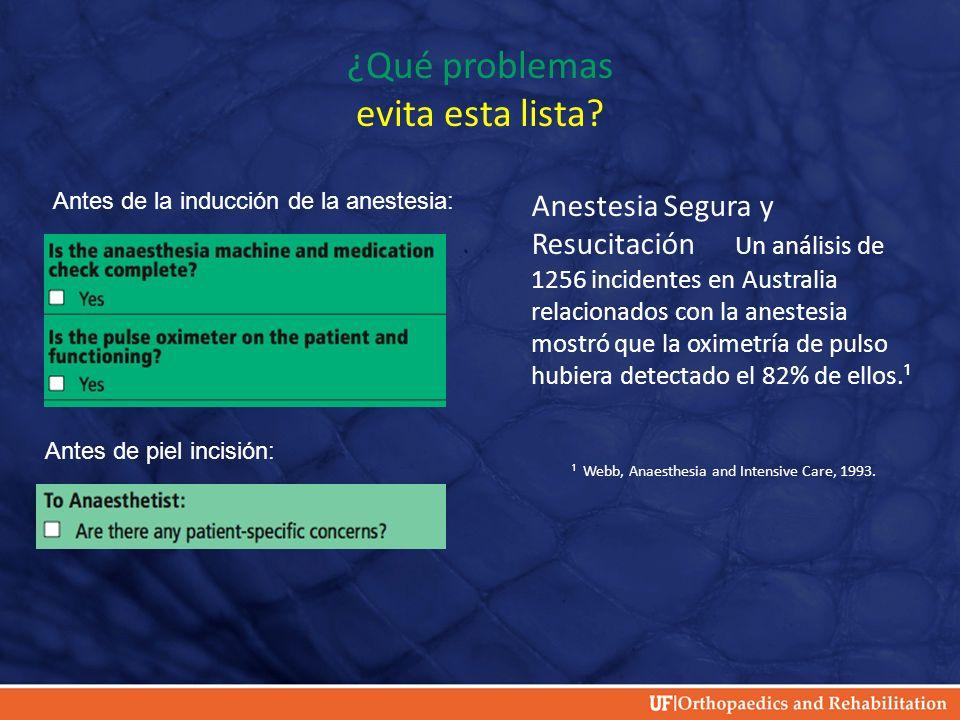 ¿Qué problemas evita esta lista? Anestesia Segura y Resucitación Un análisis de 1256 incidentes en Australia relacionados con la anestesia mostró que