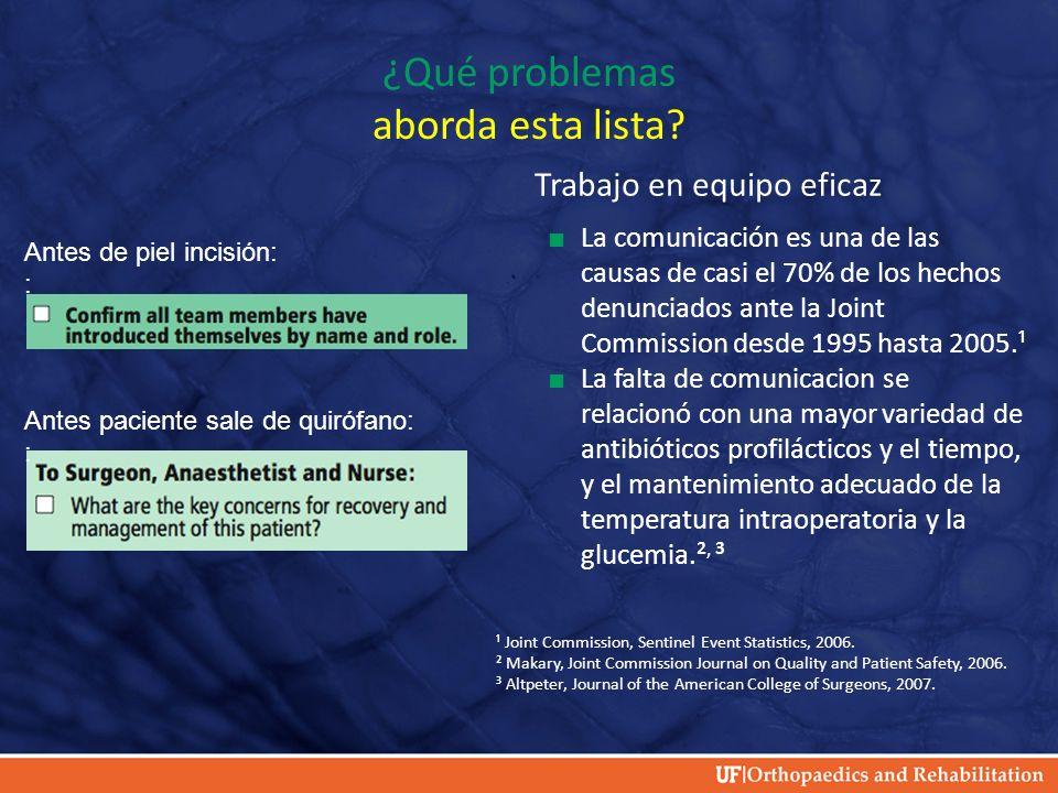 ¿Qué problemas aborda esta lista? Trabajo en equipo eficaz La comunicación es una de las causas de casi el 70% de los hechos denunciados ante la Joint