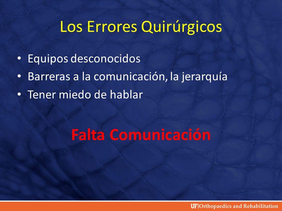 Los Errores Quirúrgicos Equipos desconocidos Barreras a la comunicación, la jerarquía Tener miedo de hablar Falta Comunicación