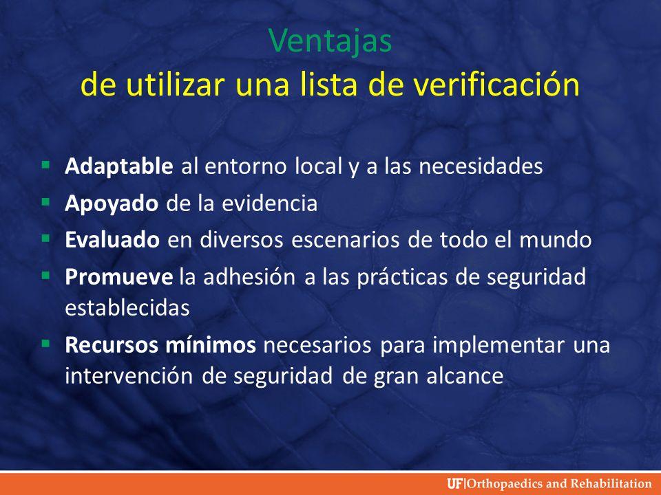 Ventajas de utilizar una lista de verificación Adaptable al entorno local y a las necesidades Apoyado de la evidencia Evaluado en diversos escenarios