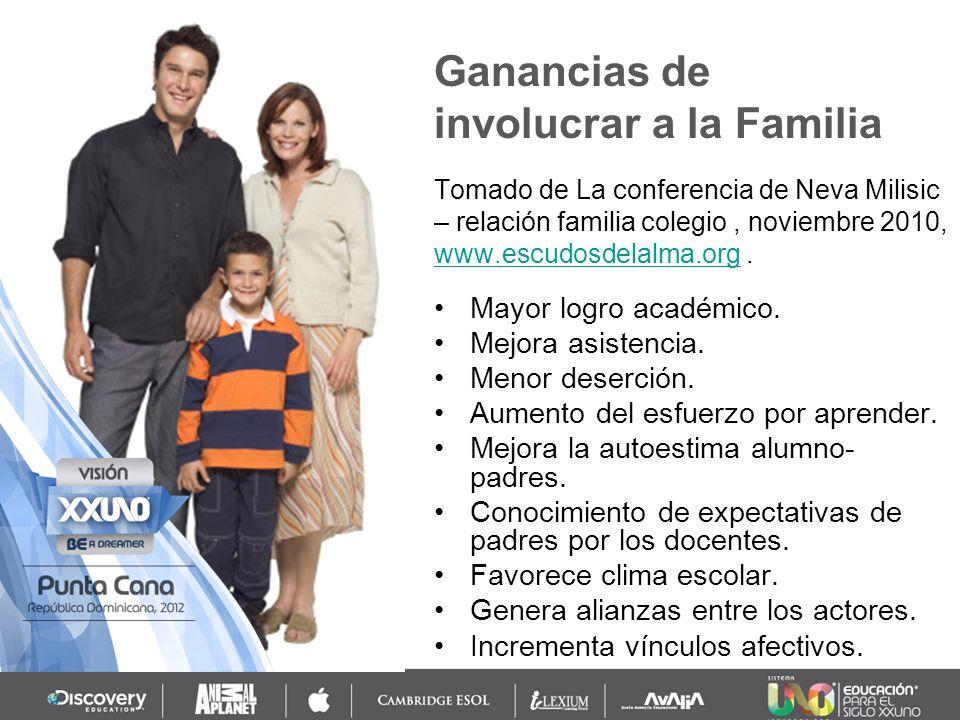 Ganancias de involucrar a la Familia Mayor logro académico. Mejora asistencia. Menor deserción. Aumento del esfuerzo por aprender. Mejora la autoestim