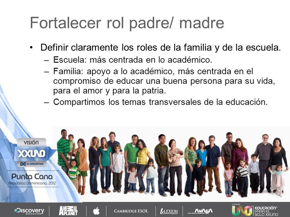 Definir claramente los roles de la familia y de la escuela. –Escuela: más centrada en lo académico. –Familia: apoyo a lo académico, más centrada en el