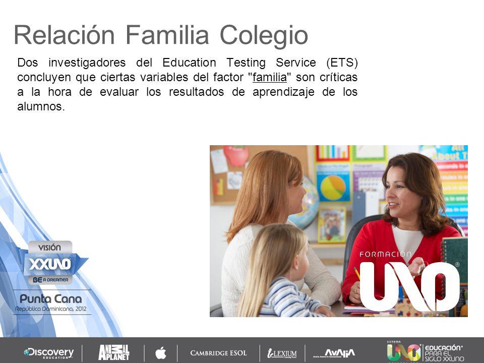 Relación Familia Colegio Dos investigadores del Education Testing Service (ETS) concluyen que ciertas variables del factor