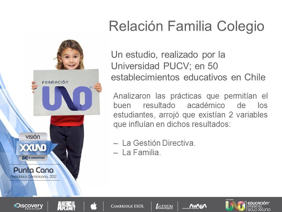 Un estudio, realizado por la Universidad PUCV; en 50 establecimientos educativos en Chile Relación Familia Colegio Analizaron las prácticas que permit