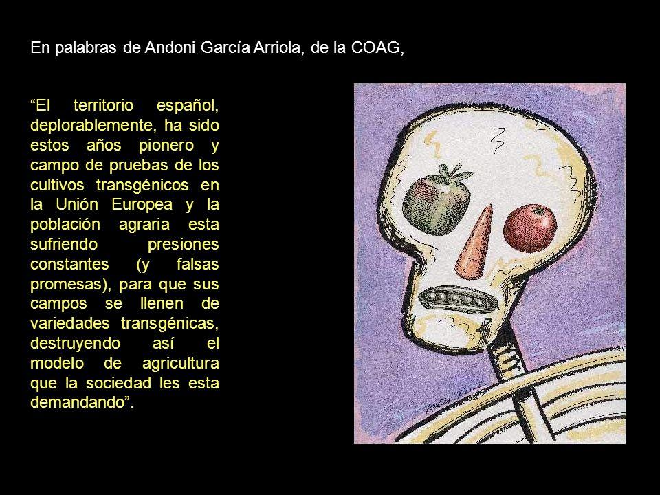 Juan-Felipe Carrasco, responsable de Transgénicos de Greenpeace ha declarado: Un gran número de organizaciones sociales y agrarias lleva años reclamando la retirada de los cultivos transgénicos.