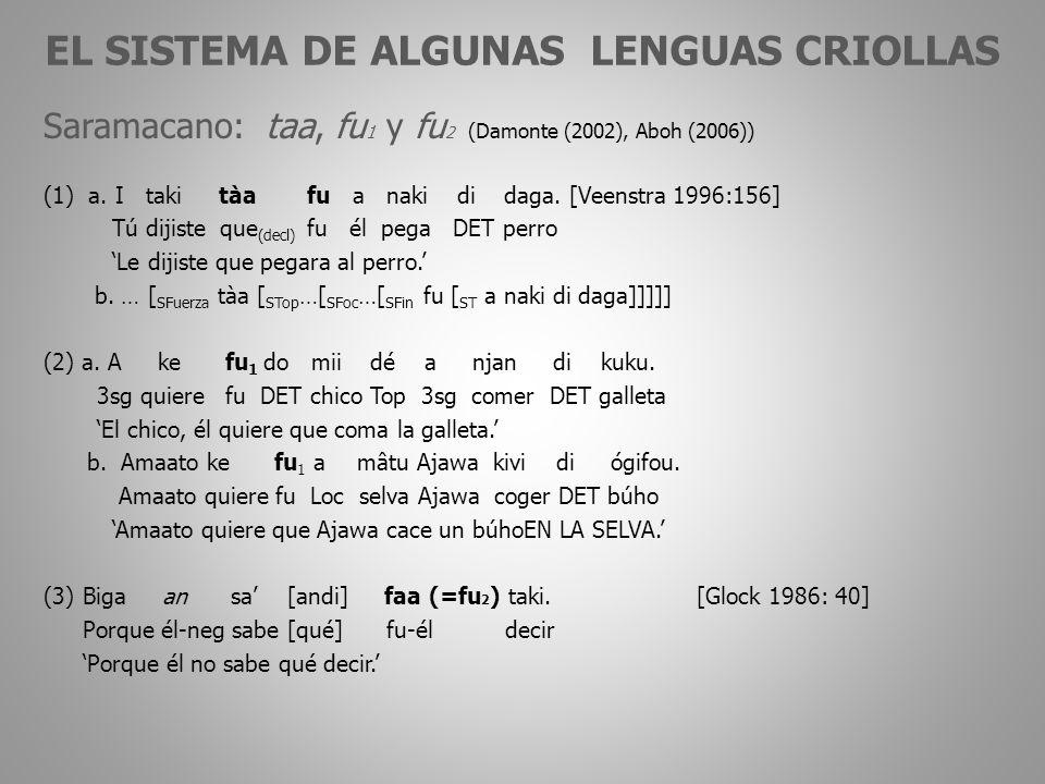 EL SISTEMA DE ALGUNAS LENGUAS CRIOLLAS Saramacano: taa, fu 1 y fu 2 (Damonte (2002), Aboh (2006)) (1) a.