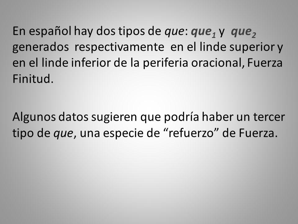 En español hay dos tipos de que: que 1 y que 2 generados respectivamente en el linde superior y en el linde inferior de la periferia oracional, Fuerza Finitud.
