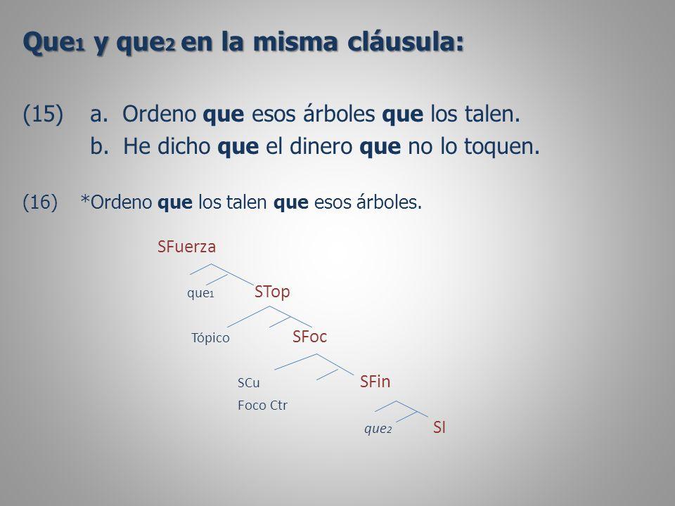 Que 1 y que 2 en la misma cláusula: (15)a. Ordeno que esos árboles que los talen.