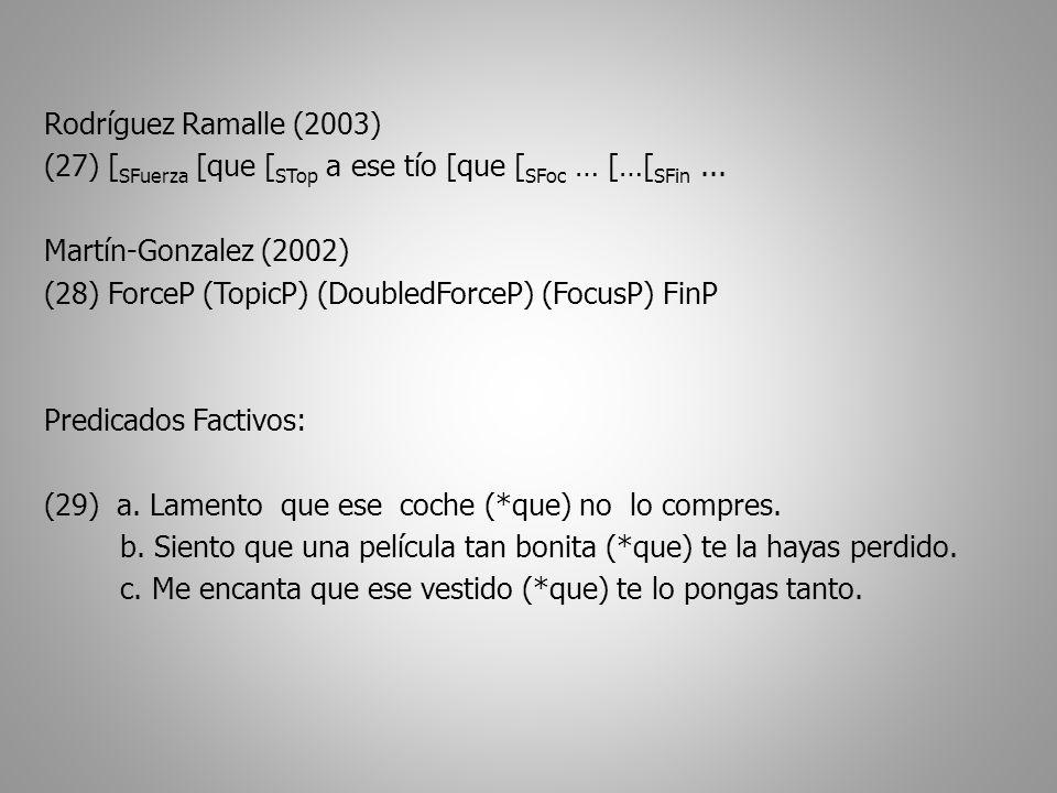 Rodríguez Ramalle (2003) (27) [ SFuerza [que [ STop a ese tío [que [ SFoc … […[ SFin...