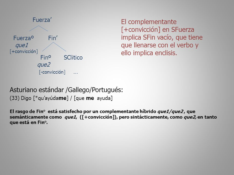 Fuerza Fuerzaº Fin que1 [+convicción] Finº SClitico que2 [-convicción] … Asturiano estándar /Gallego/Portugués: (33) Digo [*quayúdame] / [que me ayuda] El rasgo de Fin o está satisfecho por un complementante híbrido que1/que2, que semánticamente como que1, ([+convicción]), pero sintácticamente, como que2, en tanto que está en Fin o.