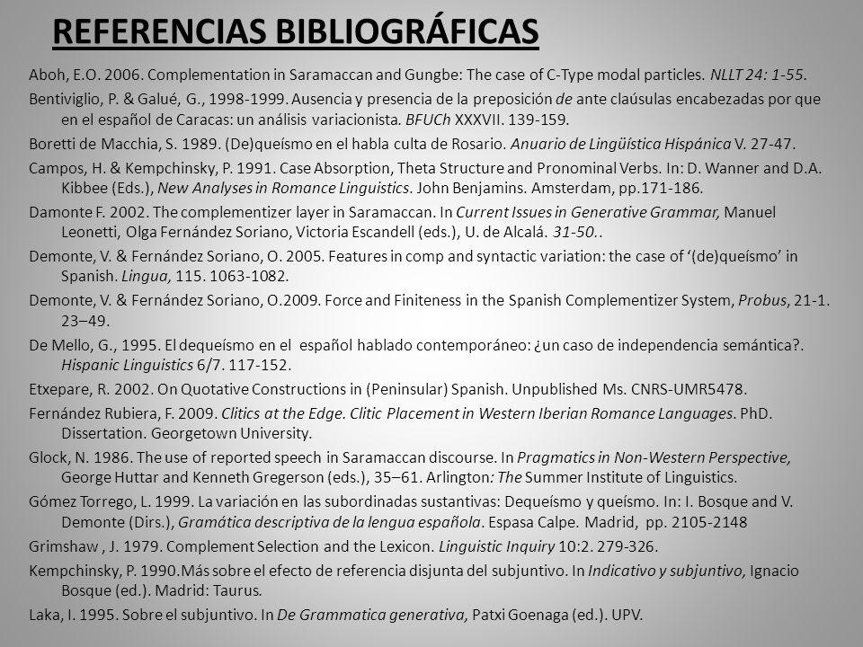 REFERENCIAS BIBLIOGRÁFICAS Aboh, E.O. 2006.