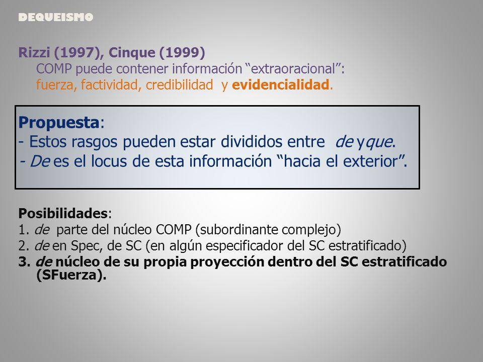 Rizzi (1997), Cinque (1999) COMP puede contener información extraoracional: fuerza, factividad, credibilidad y evidencialidad.