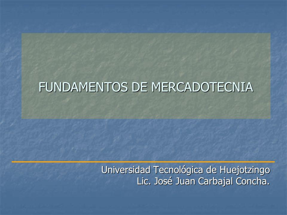 FUNDAMENTOS DE MERCADOTECNIA Universidad Tecnológica de Huejotzingo Lic. José Juan Carbajal Concha.