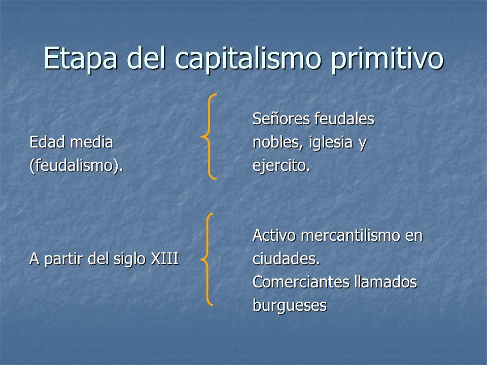 Etapa del capitalismo primitivo Edad media (feudalismo). A partir del siglo XIII Señores feudales nobles, iglesia y ejercito. Activo mercantilismo en
