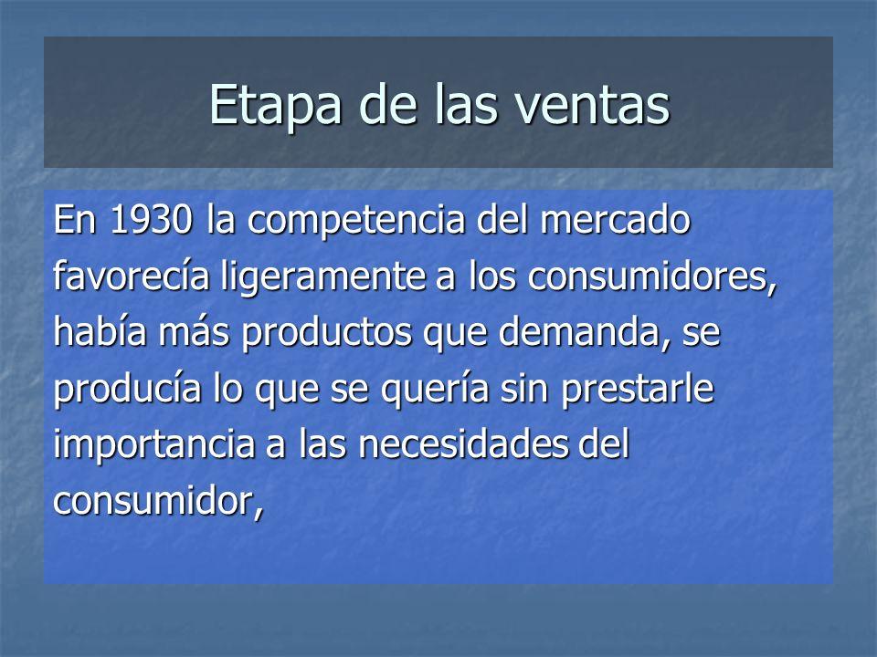 Etapa de las ventas En 1930 la competencia del mercado favorecía ligeramente a los consumidores, había más productos que demanda, se producía lo que se quería sin prestarle importancia a las necesidades del consumidor,