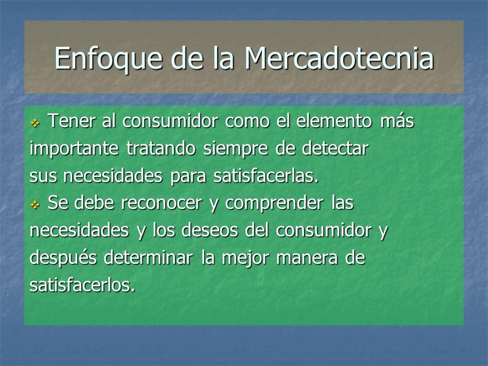 Enfoque de la Mercadotecnia Tener al consumidor como el elemento más Tener al consumidor como el elemento más importante tratando siempre de detectar