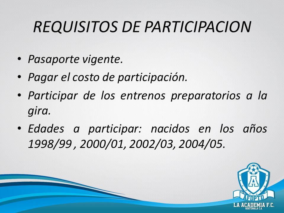 REQUISITOS DE PARTICIPACION Pasaporte vigente. Pagar el costo de participación. Participar de los entrenos preparatorios a la gira. Edades a participa