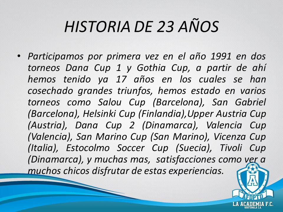 HISTORIA DE 23 AÑOS Participamos por primera vez en el año 1991 en dos torneos Dana Cup 1 y Gothia Cup, a partir de ahí hemos tenido ya 17 años en los