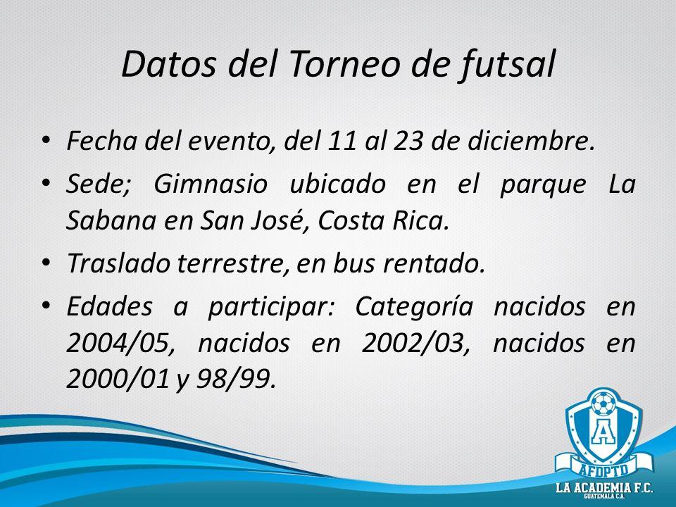 Datos del Torneo de futsal Fecha del evento, del 11 al 23 de diciembre. Sede; Gimnasio ubicado en el parque La Sabana en San José, Costa Rica. Traslad