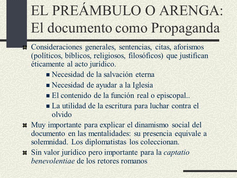 EL PREÁMBULO O ARENGA: El documento como Propaganda Consideraciones generales, sentencias, citas, aforismos (políticos, bíblicos, religiosos, filosófi