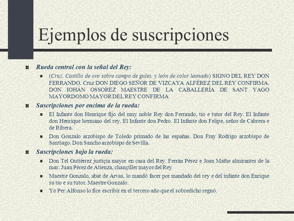 Ejemplos de suscripciones Rueda central con la señal del Rey: (Cruz. Castillo de oro sobre campo de gules, y león de color leonado) SIGNO DEL REY DON