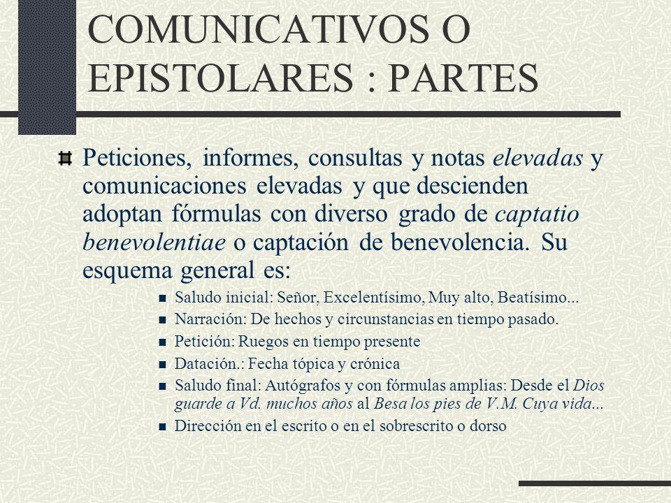LOS DOCUMENTOS COMUNICATIVOS O EPISTOLARES : PARTES Peticiones, informes, consultas y notas elevadas y comunicaciones elevadas y que descienden adopta