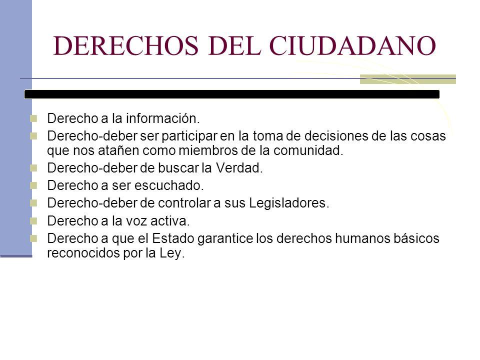 DERECHOS DEL CIUDADANO Derecho a la información. Derecho-deber ser participar en la toma de decisiones de las cosas que nos atañen como miembros de la