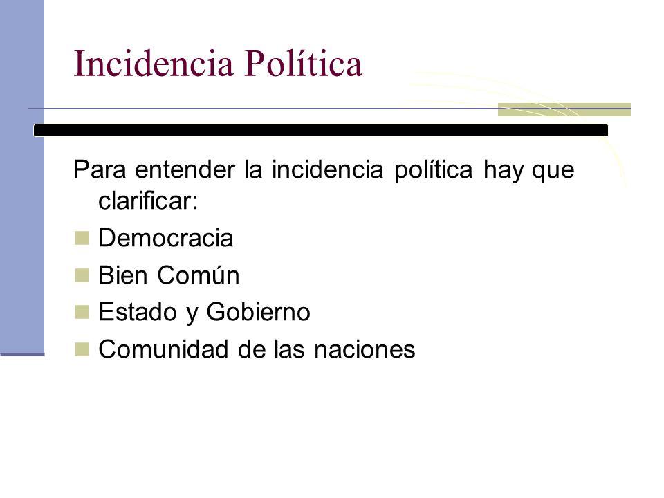 Incidencia Política Para entender la incidencia política hay que clarificar: Democracia Bien Común Estado y Gobierno Comunidad de las naciones