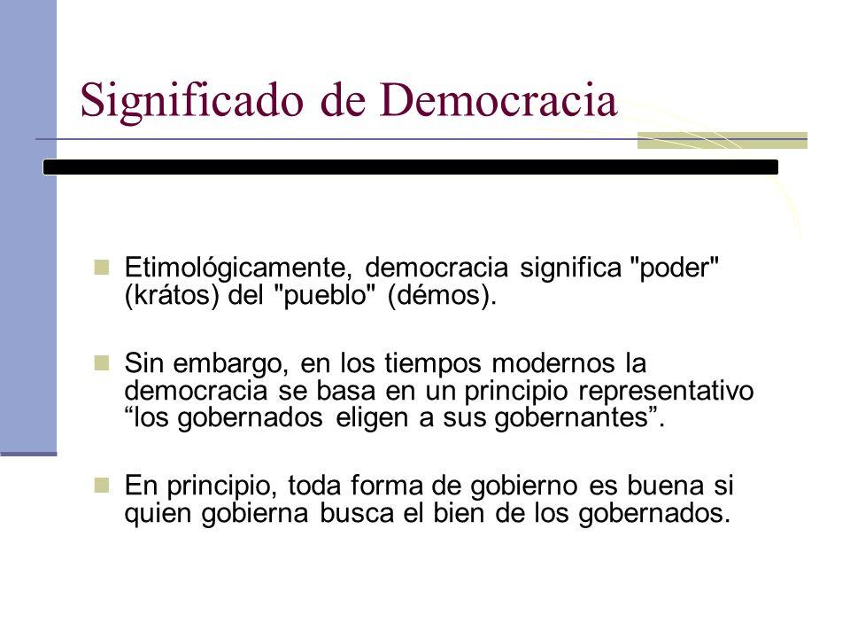 Significado de Democracia Etimológicamente, democracia significa
