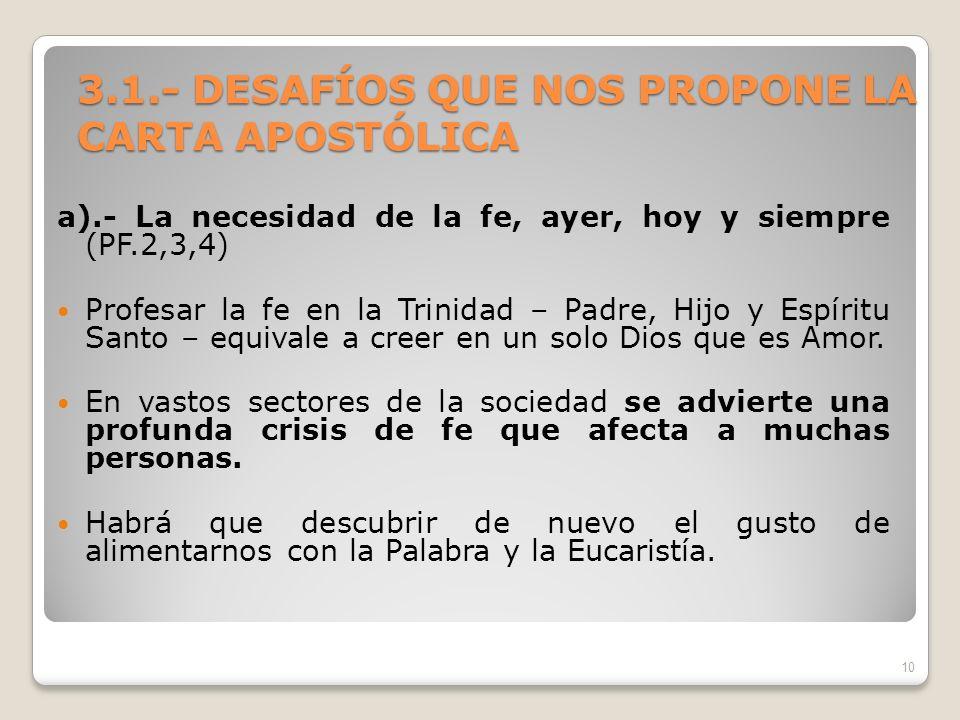 3.1.- DESAFÍOS QUE NOS PROPONE LA CARTA APOSTÓLICA a).- La necesidad de la fe, ayer, hoy y siempre (PF.2,3,4) Profesar la fe en la Trinidad – Padre, H