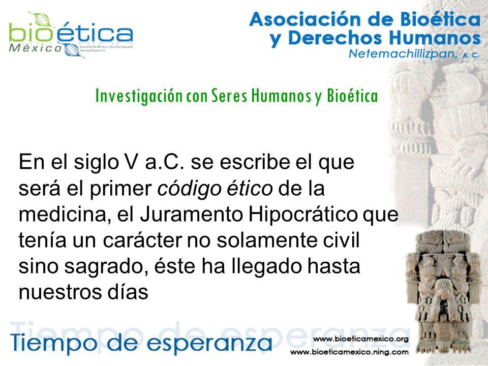 Investigación con Seres Humanos y Bioética El informe Belmont Principios y guías éticos para la protección de los sujetos humanos de investigación.