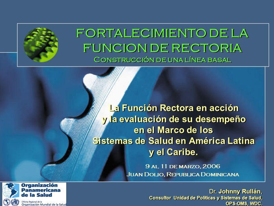 FORTALECIMIENTO DE LA FUNCION DE RECTORIA Construcción de una línea basal La Función Rectora en acción y la evaluación de su desempeño en el Marco de