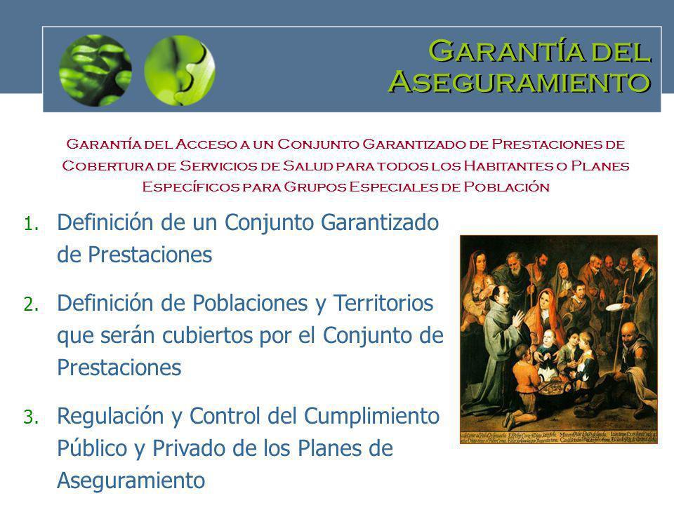 Garantía del Aseguramiento Garantía del Aseguramiento 1. Definición de un Conjunto Garantizado de Prestaciones 2. Definición de Poblaciones y Territor