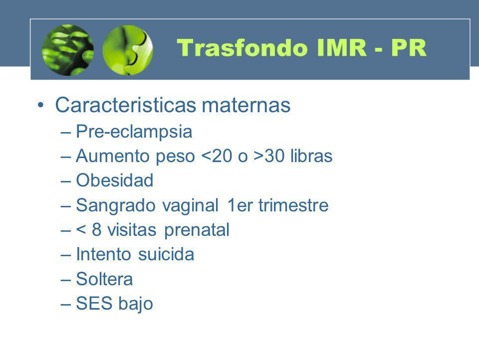 Trasfondo IMR - PR Caracteristicas maternas –Pre-eclampsia –Aumento peso 30 libras –Obesidad –Sangrado vaginal 1er trimestre –< 8 visitas prenatal –In