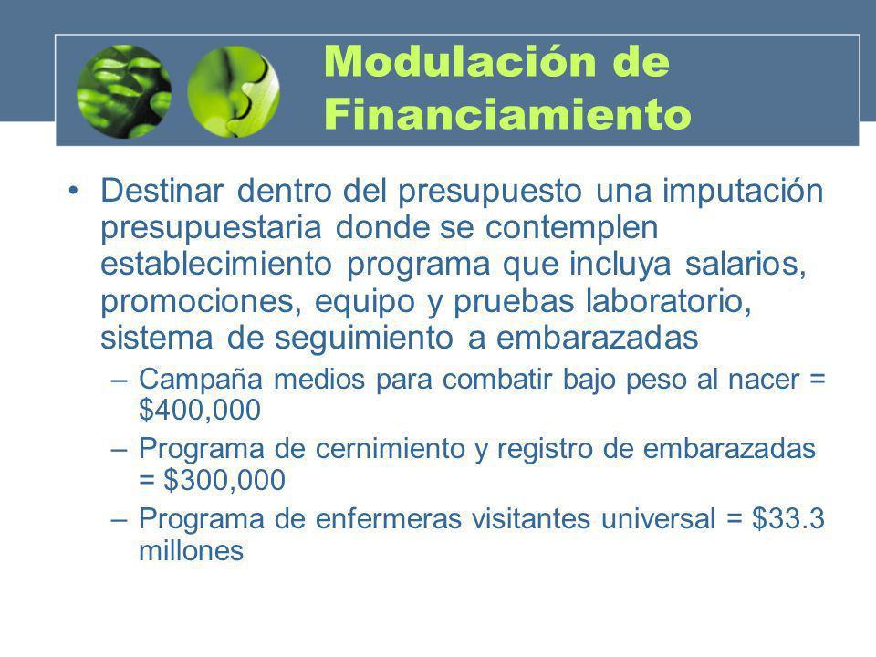 Modulación de Financiamiento Destinar dentro del presupuesto una imputación presupuestaria donde se contemplen establecimiento programa que incluya sa