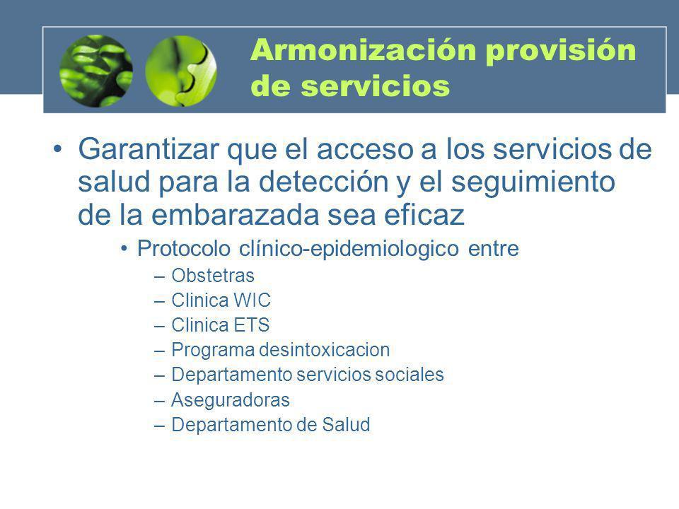 Armonización provisión de servicios Garantizar que el acceso a los servicios de salud para la detección y el seguimiento de la embarazada sea eficaz P