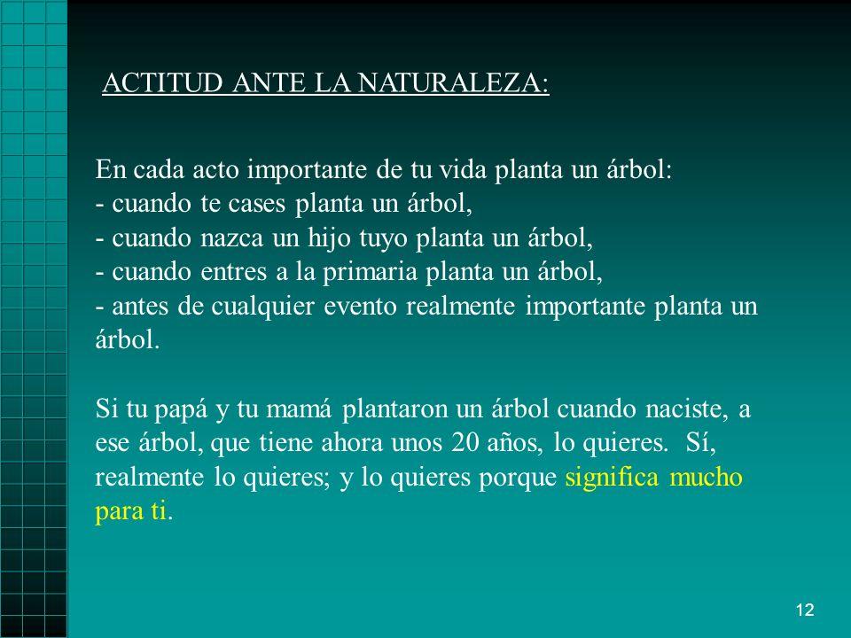 12 ACTITUD ANTE LA NATURALEZA: Si tu papá y tu mamá plantaron un árbol cuando naciste, a ese árbol, que tiene ahora unos 20 años, lo quieres.