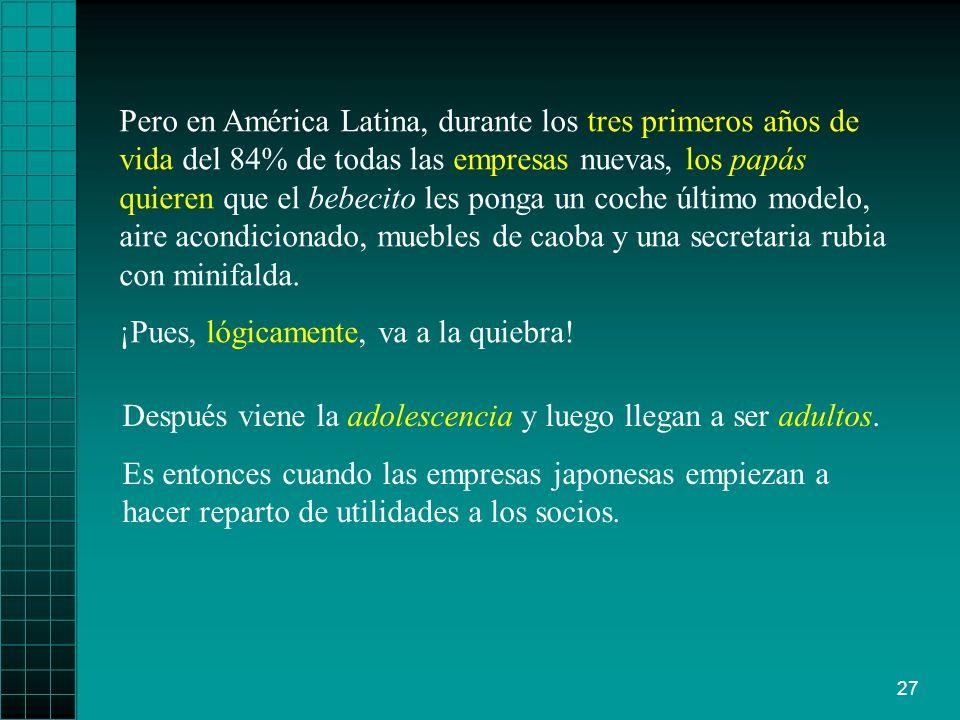 27 Pero en América Latina, durante los tres primeros años de vida del 84% de todas las empresas nuevas, los papás quieren que el bebecito les ponga un coche último modelo, aire acondicionado, muebles de caoba y una secretaria rubia con minifalda.