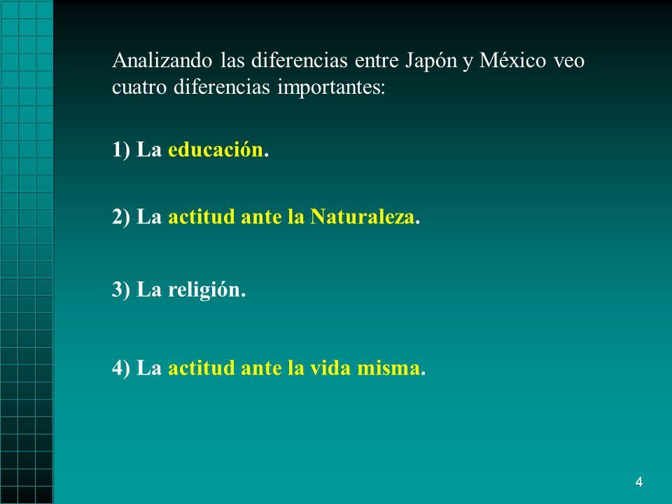 4 Analizando las diferencias entre Japón y México veo cuatro diferencias importantes: 4) La actitud ante la vida misma.