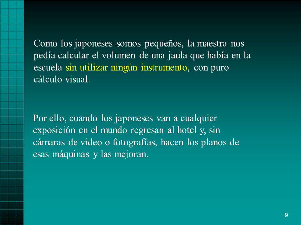 9 Como los japoneses somos pequeños, la maestra nos pedía calcular el volumen de una jaula que había en la escuela sin utilizar ningún instrumento, con puro cálculo visual.
