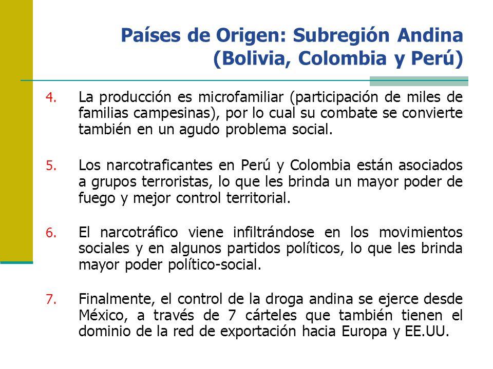 Países de Origen: Subregión Andina (Bolivia, Colombia y Perú) 4. La producción es microfamiliar (participación de miles de familias campesinas), por l