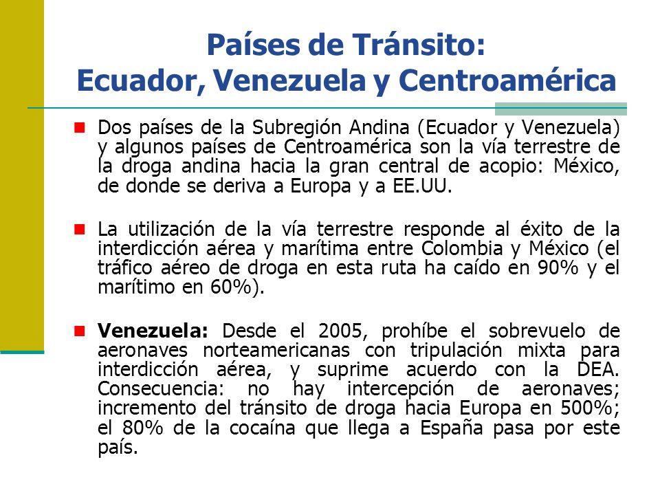 Países de Tránsito: Ecuador, Venezuela y Centroamérica Dos países de la Subregión Andina (Ecuador y Venezuela) y algunos países de Centroamérica son l
