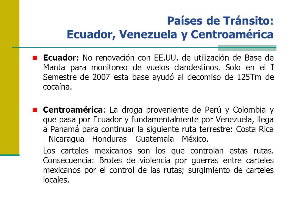 Países de Tránsito: Ecuador, Venezuela y Centroamérica Ecuador: No renovación con EE.UU. de utilización de Base de Manta para monitoreo de vuelos clan