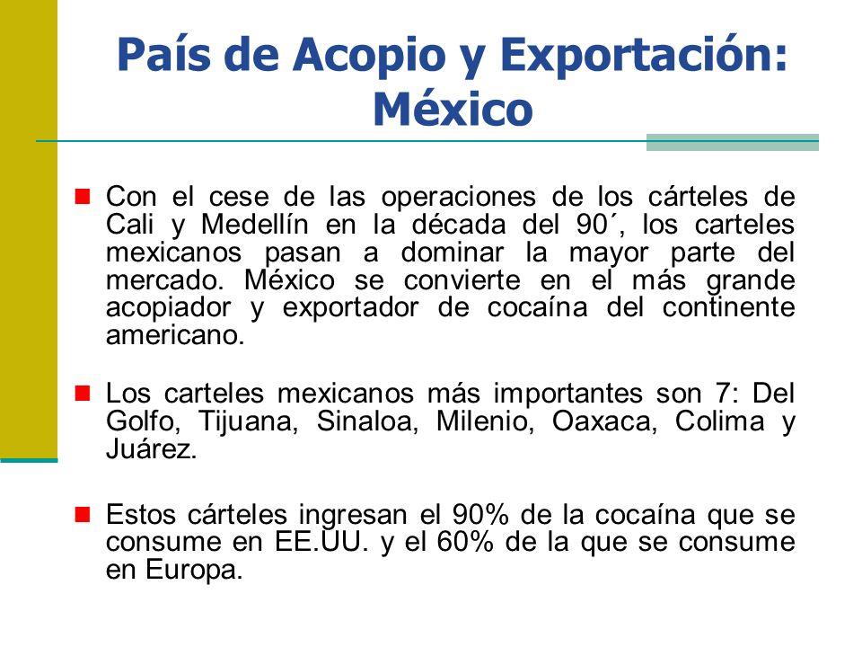 País de Acopio y Exportación: México Con el cese de las operaciones de los cárteles de Cali y Medellín en la década del 90´, los carteles mexicanos pa